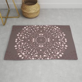 Flower Mandala in Pink and Deep Taupe Rug