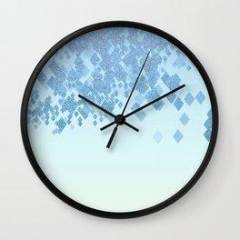Light Aqua Blue Gradient Faux Glitter Diamonds Wall Clock