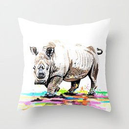 Sudan the last male northern white rhino Throw Pillow