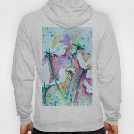 Cool Blue Vibrant Cosmos watercolor by CheyAnne Sexton Hoody