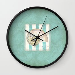 Nautilus Shell Striped Shabby Beach Cottage Watercolor Illustration Wall Clock