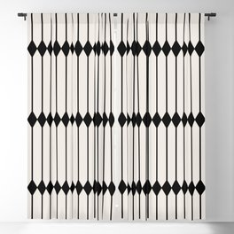 Minimal Geometric Pattern - Black and White Blackout Curtain