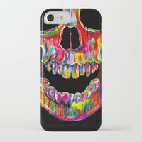 skull iPhone & iPod Cases featuring Chromatic Skull by John Filipe