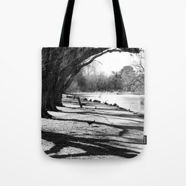 Lakeside bench in a park near the Grampians Tote Bag