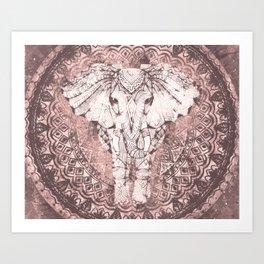 Bohemian, Elephant, Mandala, Blush, Moon Art Print
