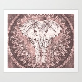 Bohemian, Elephant, Mandala, Blush, Moon Kunstdrucke