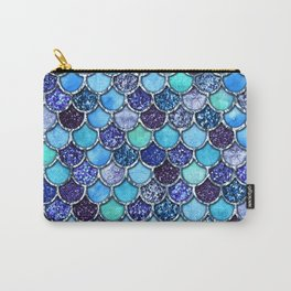 Colorful Teal & Blue Watercolor & Glitter Mermaid Scales Carry-All Pouch
