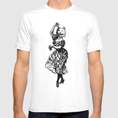 The Flamenco Cat  Mens Fitted Tee MEDIUM White