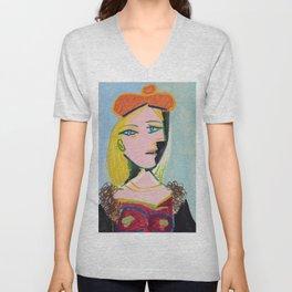 Inspired to Picasso Femme au béret orange Unisex V-Neck
