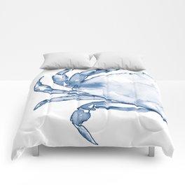 Coastal Crab in Watercolor, Navy Blue (Left Half in Set) Comforters