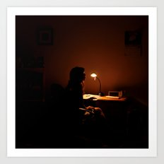 Dark Silhouette at Desk Art Print