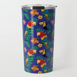 Colorful Summer Birds Pattern Travel Mug