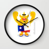 chile Wall Clocks featuring Feeling Chile Football freak World Cup 2014 by simon oxley idokungfoo.com