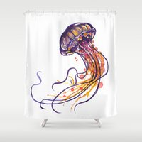 jellyfish Shower Curtains featuring Jellyfish by Sam Nagel