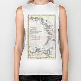 Vintage Map of The Antilles Islands (1780) Biker Tank