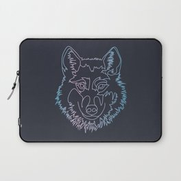 Vector wolf in one line Laptop Sleeve
