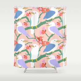 Kookaburra Birds + Little Kurrajong Flowers Shower Curtain