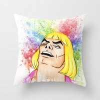 he man Throw Pillows featuring He-Man by Creadoorm