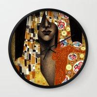 klimt Wall Clocks featuring Klimt Me by Estúdio Marte