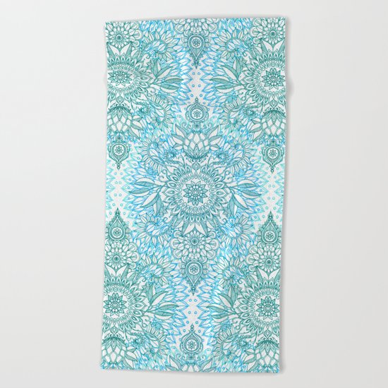 Turquoise Blue, Teal & White Protea Doodle Pattern Beach Towel