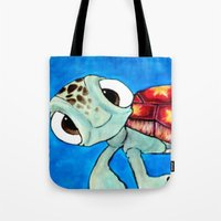 finding nemo Tote Bags featuring Squirt From Finding Nemo by Jadie Miller