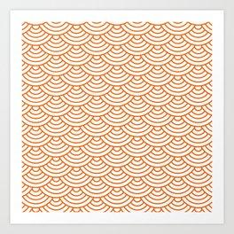 Orange Japanese wave pattern Art Print