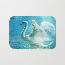 White Swan During a Summer Shower Bath Mat