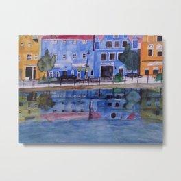 Isar Promenade Landshut mit Wasserspiegelung Metal Print