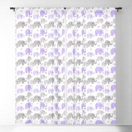 Purple Gray Elephant Baby Girl Nursery Blackout Curtain