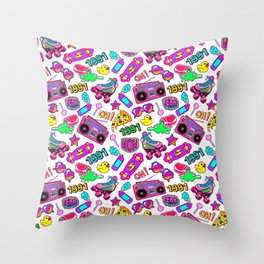 Seamless pattern with colorful retro elements 2 Throw Pillow