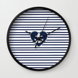 Modern navy blue white heart anchor nautical stripes Wall Clock