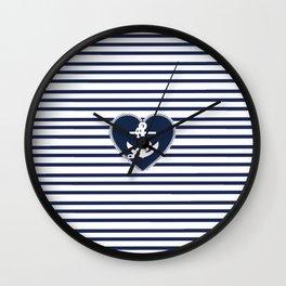 Modern navy blue white heart anchor nautical stripes Wall Clock