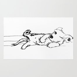 ink drawing of reclining dog with one eyeball hanging out by Cecilia Lee Rug