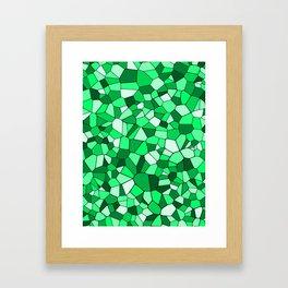 Monochrome Green Mosaic Pattern Framed Art Print