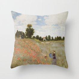 Claude Monet's Coquelicots: La Promenade Throw Pillow