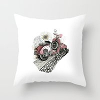 vespa Throw Pillows featuring Vespa by Mariqui Romero