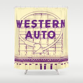 Western Auto Neon Sign In Downtown Kansas City Shower Curtain