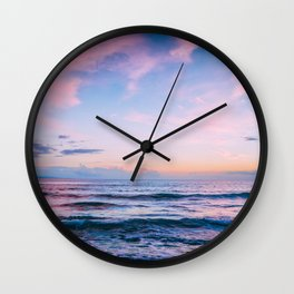 Pink and Blue Peaceful Ocean Sunset Wall Clock
