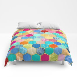 Patterned Honeycomb Patchwork in Jewel Colors Comforters