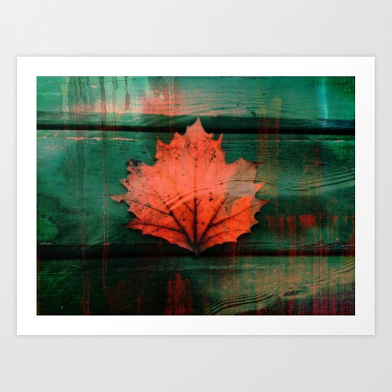 Rusty red dried fall leaf on wooden hunter green beams Art Print