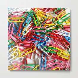 Colorful paper clips on white background. Metal Print