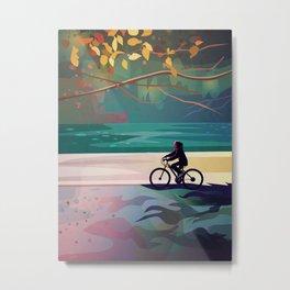 Ride on Round Lake Metal Print