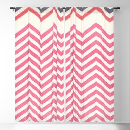 Watercolor pink ivory gray abstract geometric chevron Blackout Curtain