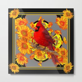 RED CARDINAL SUNFLOWERS ON GREY BLACK ART Metal Print