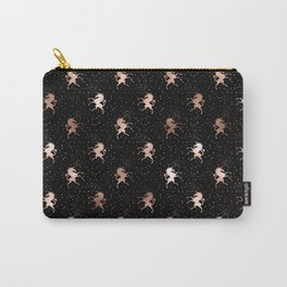 Black Rose Gold Unicorn Pattern Carry-All Pouch