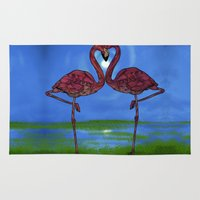 flamingos Area & Throw Rugs featuring Flamingos by Ben Geiger