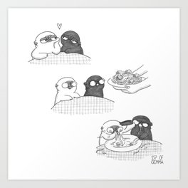 Mochi the pug and his black pug girlfriend as lady and the tramp Art Print
