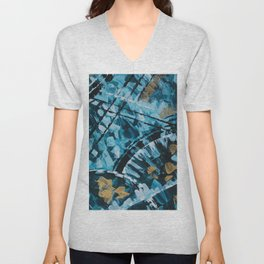 Turquoise and Gold Abstract Painting Unisex V-Neck