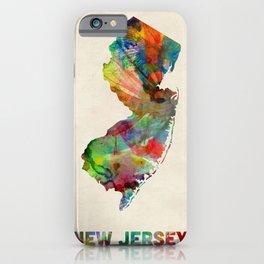 New Jersey Watercolor Map iPhone Case