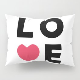 The word Love and pink heart Pillow Sham